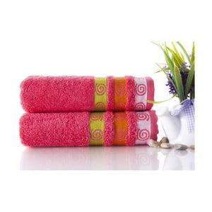 Zestaw 2 ręczników Truva Fuchsia, 50x90 cm
