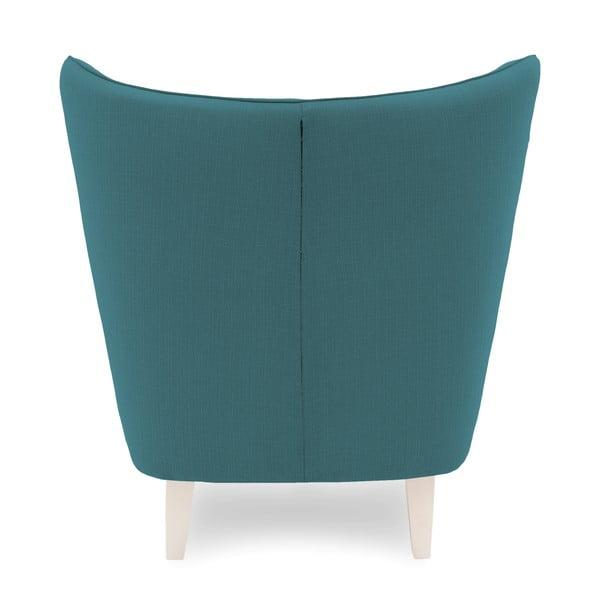 Turkusowy fotel z jasnymi nogami Vivonita Sandy