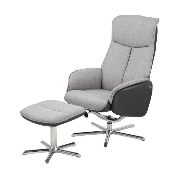 Regulowany fotel z podnóżkiem Alura, ciemnoszary