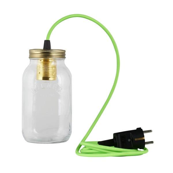 Lampa JamJar Lights, jaskrawy zielony okrągły kabel