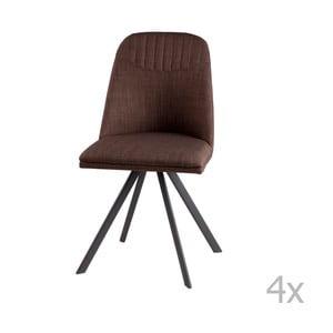Zestaw 4 brązowych krzeseł obrotowych sømcasa Cris