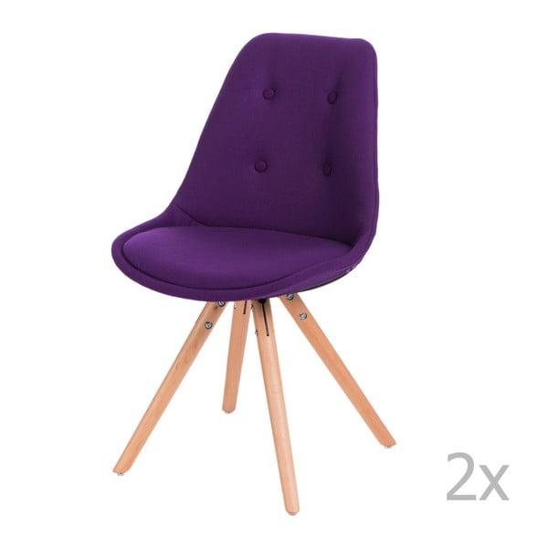 Zestaw 2 fioletowych pikowanych krzeseł D2 Norden Star