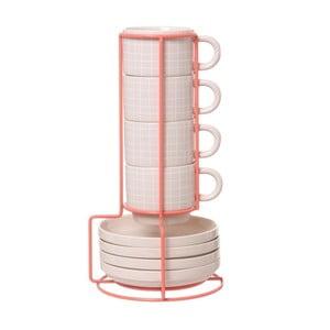 Zestaw 4 filiżanek ze spodkami na stojaku Espresso Grid Pink