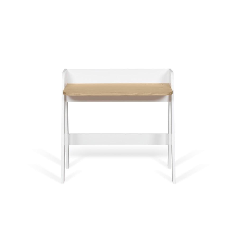 Białe biurko z blatem w dekorze dębowym TemaHome