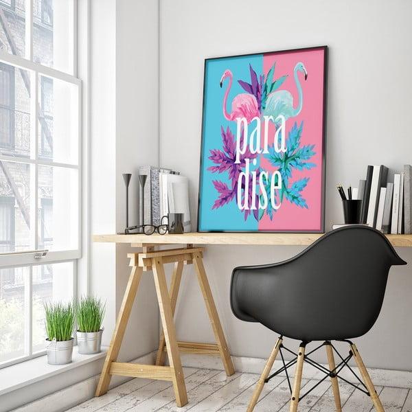 Niebiesko-różowy plakat z flamingami Paradise, 30 x 40 cm