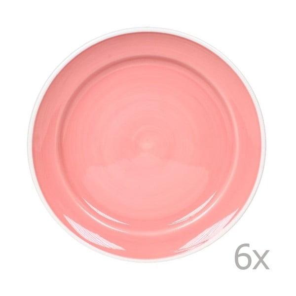 Zestaw 6 talerzy Puck 26,5 cm, różowy