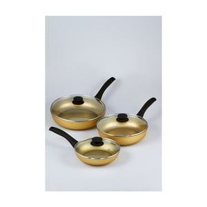 Zestaw 3 patelni z pokrywkami Bisetti Stonegold Black Handles