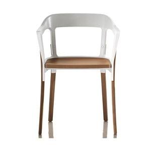 Białe krzesło Steelwood, nóżki w naturalnym kolorze