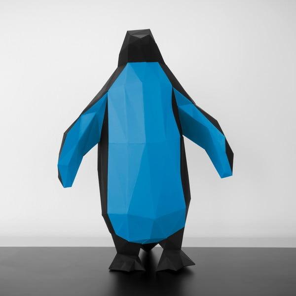 Papierowa rzeźba Pingwin, czarno-niebieska
