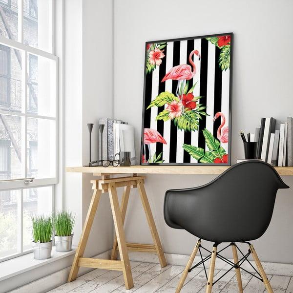 Plakat z flamingami i kwiatami, czarno-białe tło, 30 x 40 cm