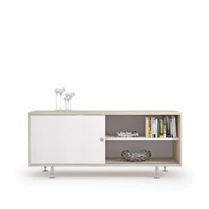 Komoda pod TV z dekorem drewna wiązu i białymi drzwiczkami Terraneo