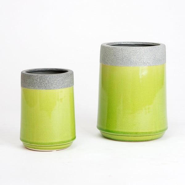 Ceramiczna osłona na doniczkę Jungle Limetka, 15x11 cm