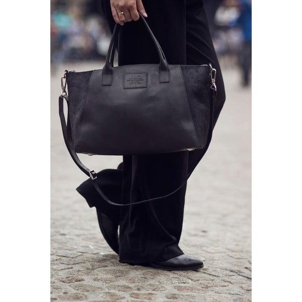Skórzana torebka Fly Violet midi, czarna/hairon