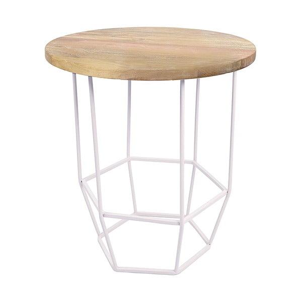 Biały stolik z drewnianym blatem HF Living Hexa White