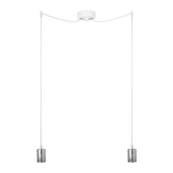 Biało-srebrna podwójna lampa wisząca Cero