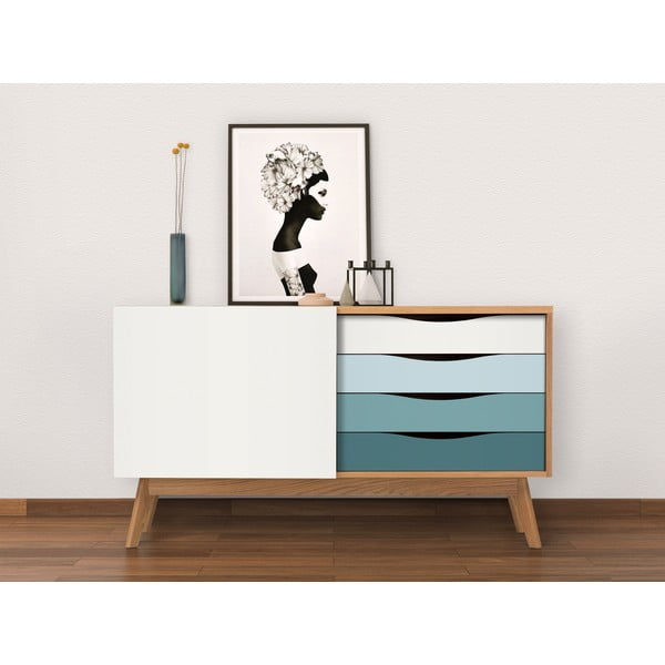 Komoda z niebieskimi szufladami Woodman Avon
