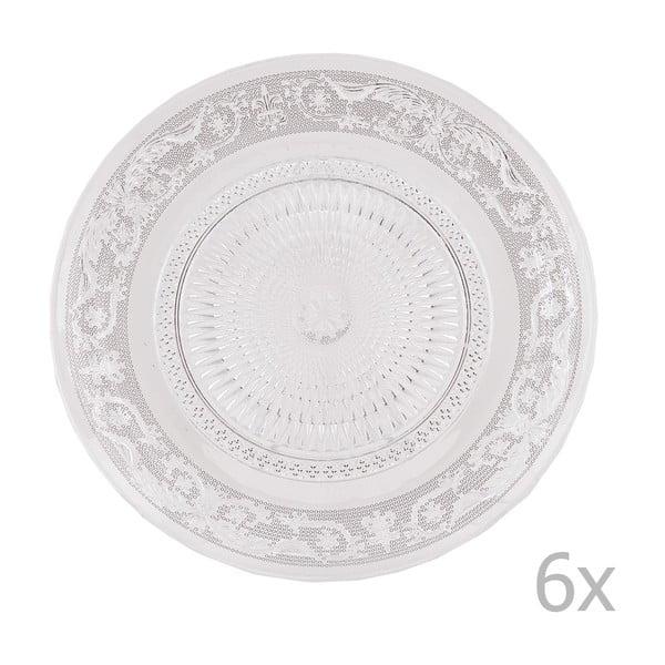 Zestaw 6 szklanych talerzy Clayre, 23 cm
