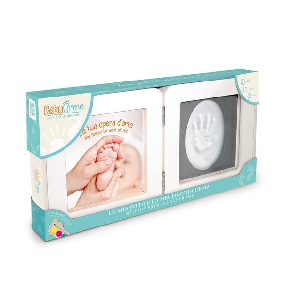 Ramka na odcisk dziecięcej rączki z ramką na zdjęcia i farbami Clay Frame