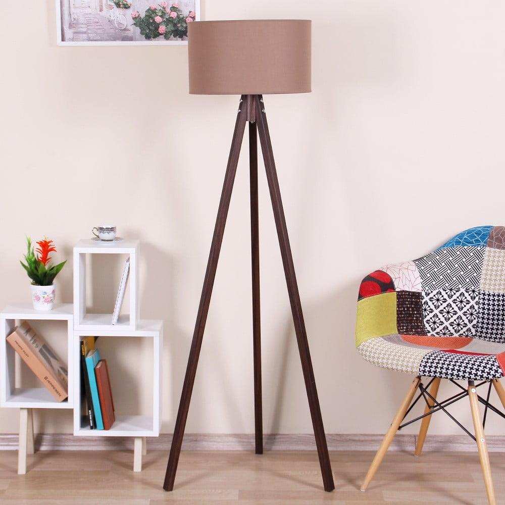 Brązowa lampa stojąca z jasnobrązowym kloszem Kate Louise Celina