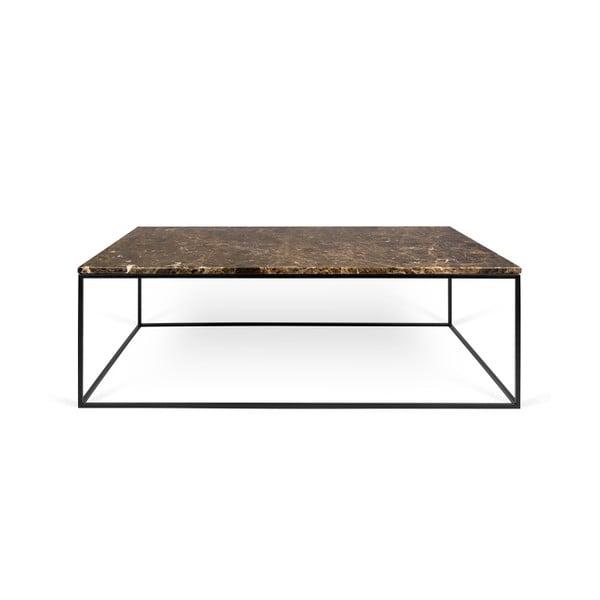 Brązowy stolik marmurowy z czarnymi nogami TemaHome Gleam, 120 cm