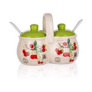 2 pojemniki ceramiczne z łyżeczkami Banquet Cherry