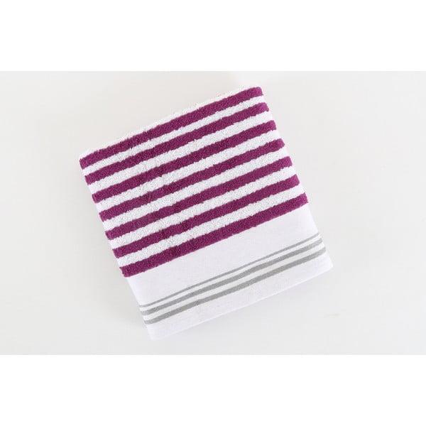 Ręcznik bawełniany BHPC 50x100 cm, fioletowo-biały