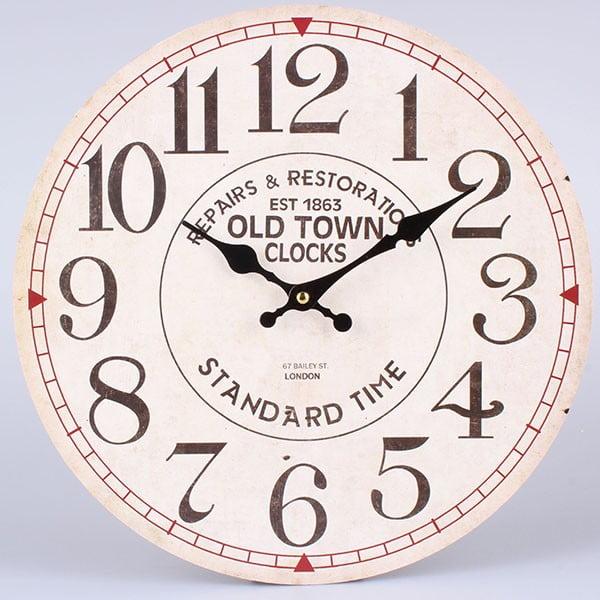 Zegar White Old Town, 34 cm