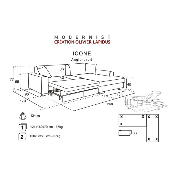 kremowy rozk adany naro nik prawostronny icone bonami. Black Bedroom Furniture Sets. Home Design Ideas