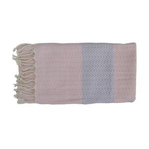 Różowo-szary ręcznie tkany ręcznik z bawełny premium Damla,100x180 cm