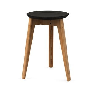 Stołek bambusowy z czarnym siedziskiem z drewna bukowego We Do Wood Button