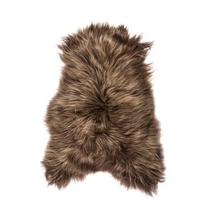 Ciemnobrązowa skóra owcza z długim włosiem, 100x60 cm