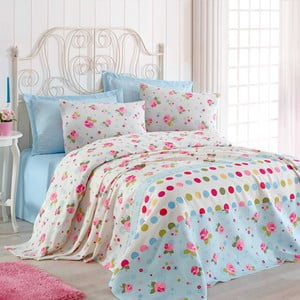 Jasnoniebieska narzuta na łóżko dwuosobowe z prześcieradłem i poszewkami Pinbal, 200x235cm