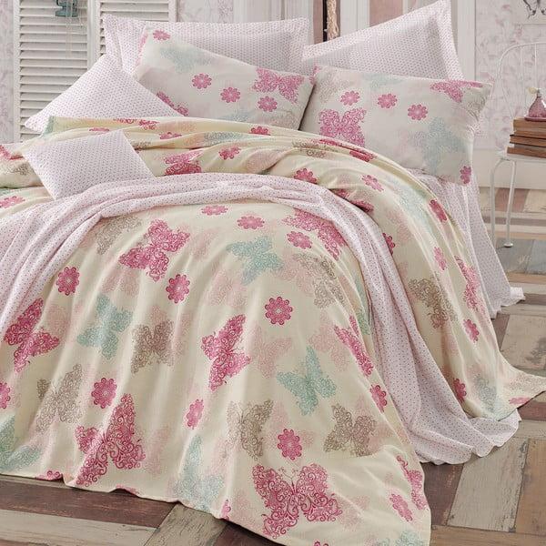 Lekka narzuta z poszewkami na poduszki  Papillon Light Cream, 200x235 cm