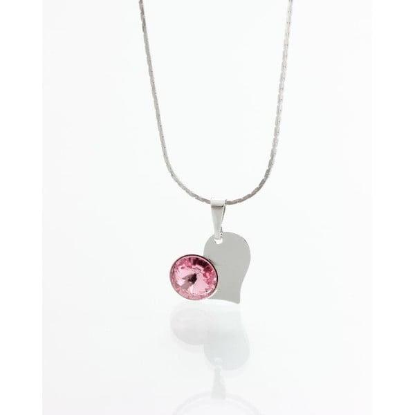 Różowy naszyjnik z kryształami Swarovskiego Yasmine Heart
