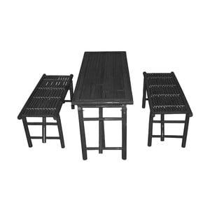 Zestaw czarnego stołu i 2 ławek z bambusu Leitmotiv