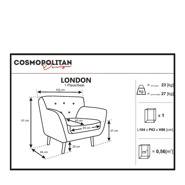 Szary fotel Cosmopolitan design London