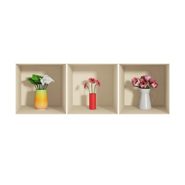 Zestaw 3 naklejek z efektem 3D Fanastick Flowers
