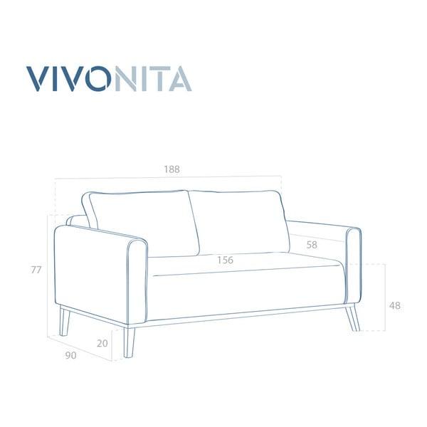 Musztardowa sofa 3-osobowa Vivonita Milton