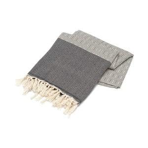 Czarny ręcznik Hammam Elmas, 100x180cm