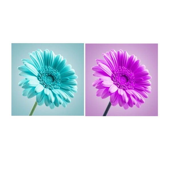 Zestaw 2 obrazów na szkle Kwiaty, 30x30 cm