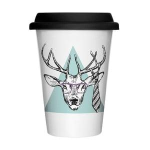 Porcelanowy kubek z przykrywką Hipster Deer, 400