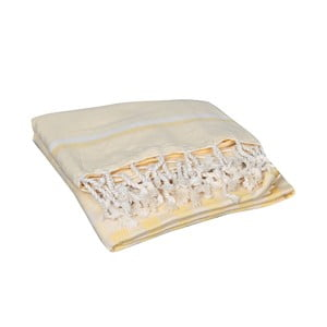 Żółty ręcznik hammam Hera Yellow, 90x190cm
