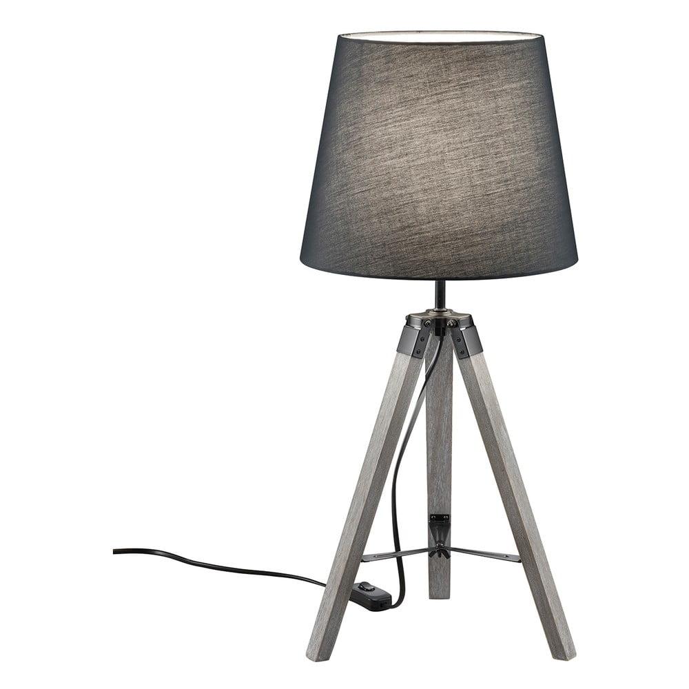 Szara lampa stołowa z naturalnego drewna i tkaniny Trio Tripod, wys. 57,5 cm