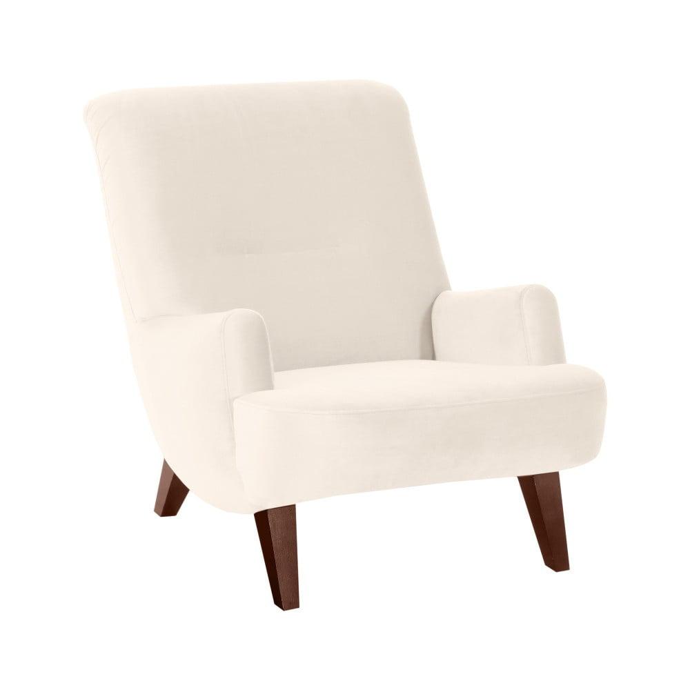 Kremowy fotel z brązowymi nogami Max Winzer Brandford Suede