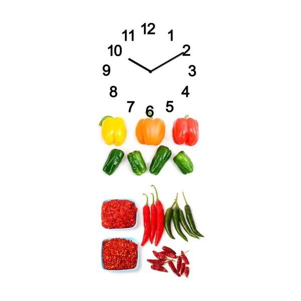 Szklany zegar Warzywa, 20x50 cm