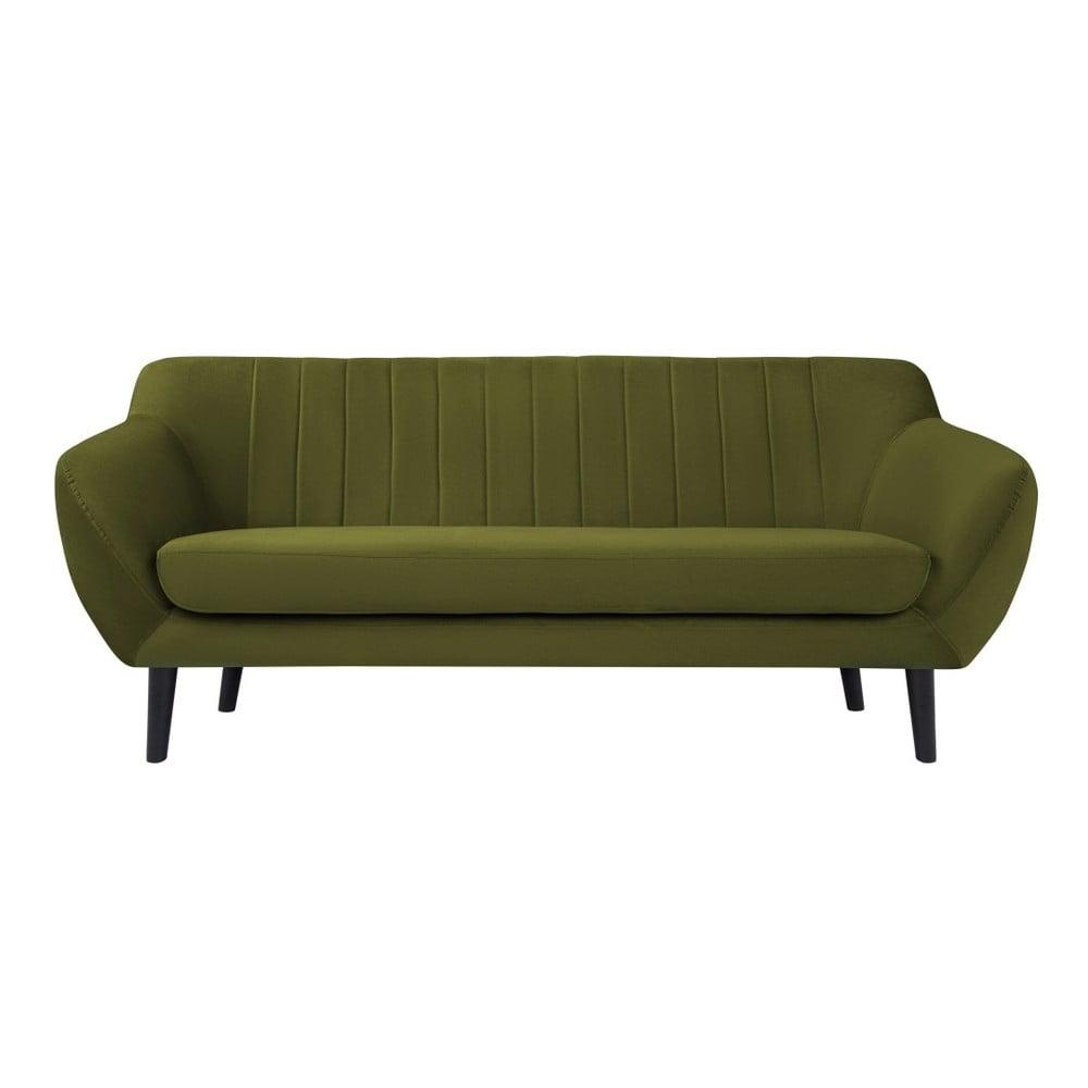 Zielona aksamitna sofa Mazzini Sofas Toscane, 188 cm
