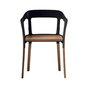 Czarne krzesło Steelwood, nóżki w naturalnym kolorze