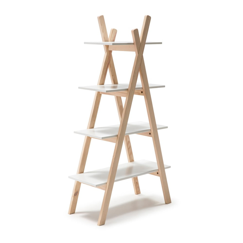 Regał dziecięcy z białymi półkami i konstrukcją z drewna sosnowego Marckeric Elisa