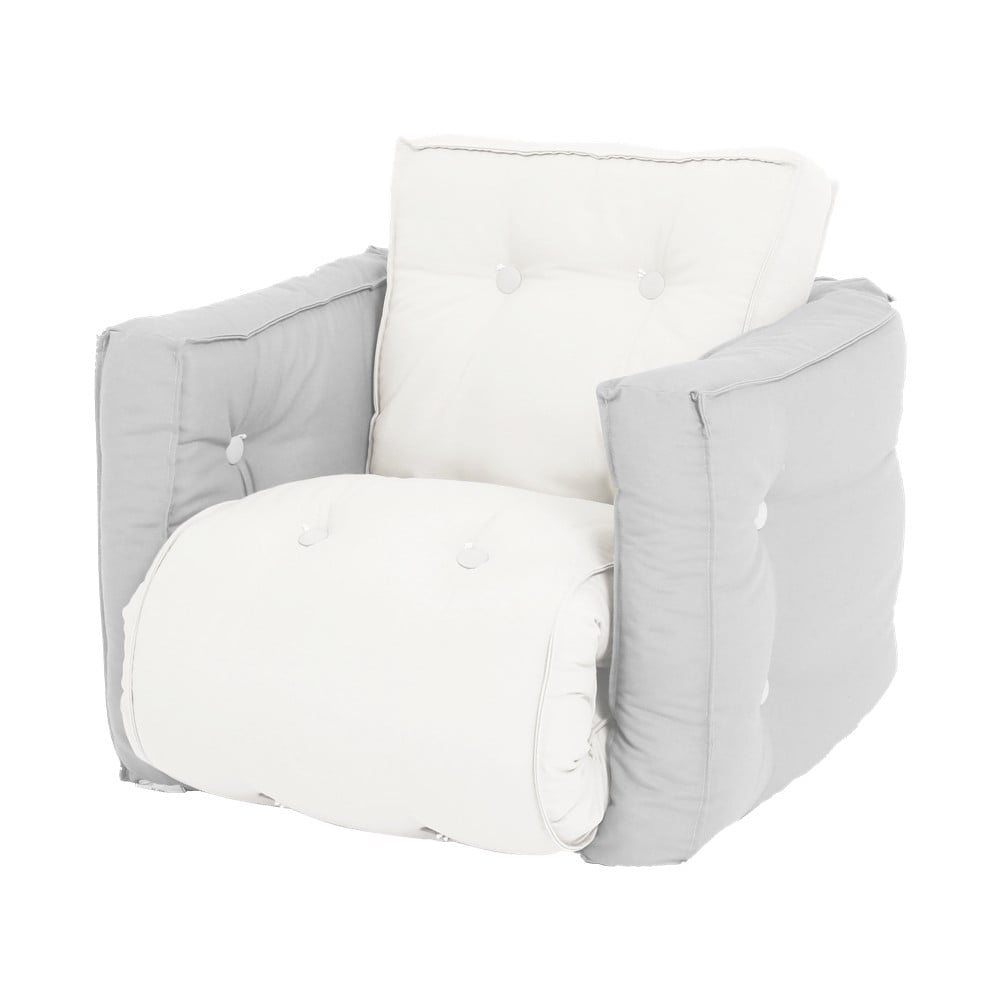 Dziecięcy jasnoszary fotel rozkładany Karup Design Mini Dice Light Grey