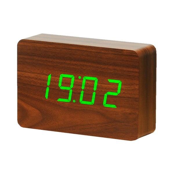 Ciemnobrązowy budzik z zielonym wyświetlaczem LED Gingko Brick Click Clock